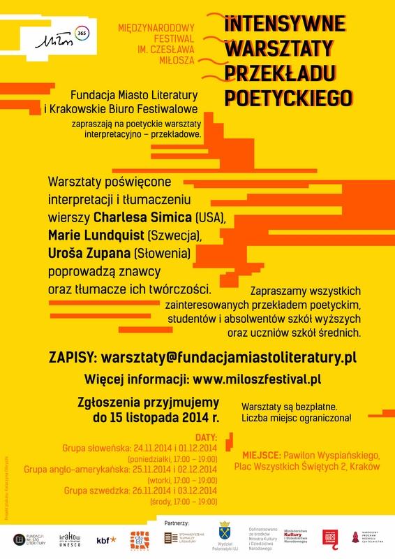 Intensywne warsztaty przekładu poetyckiego, plakat