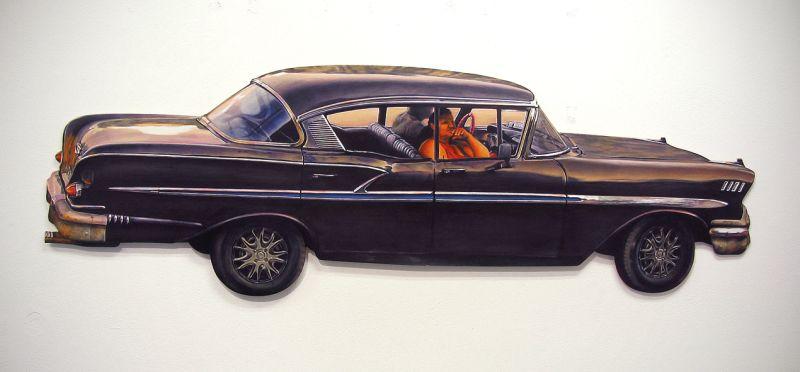 """Małgorzata Rozenau, Katowice, """"La vida loca"""", 150x50cm, akryl, deska, 2013"""
