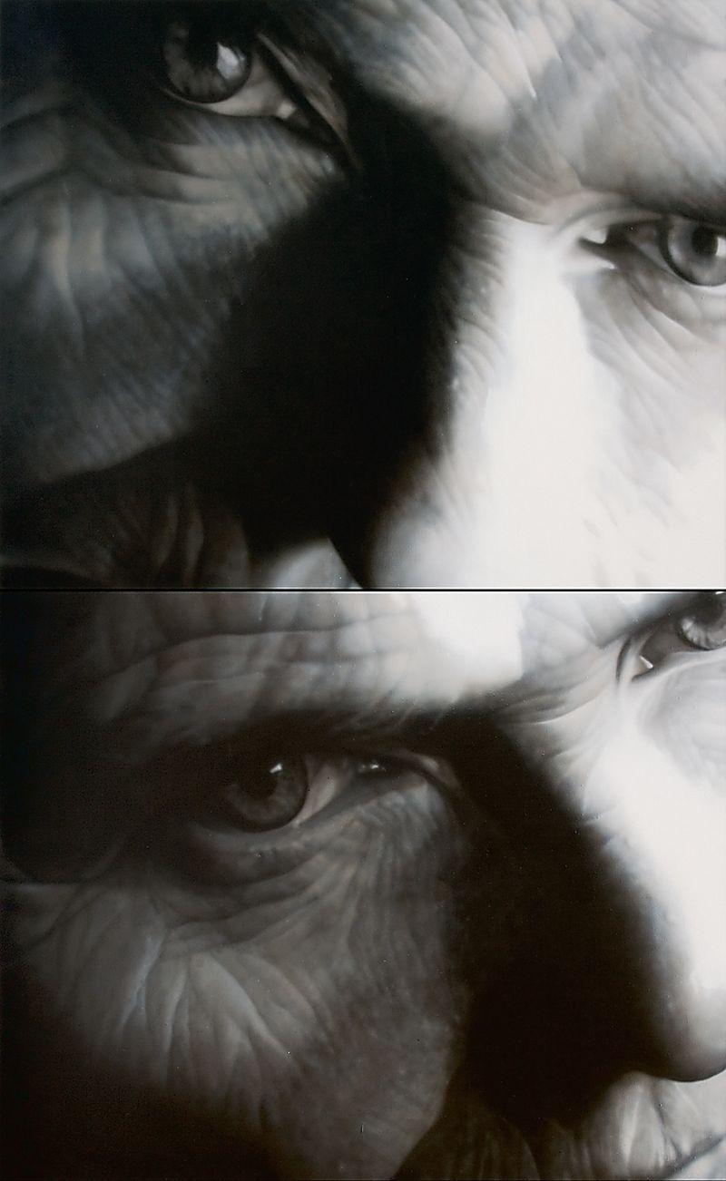 """Teresa Miszkin, """"Pejzaże Intymne"""" (dyptyk), 2004, akryl, płótno, 260x160cm"""
