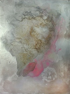 """Izabela Chamczyk, """"Ukryte"""", obraz procesualny, technika własna, 61x46 cm"""