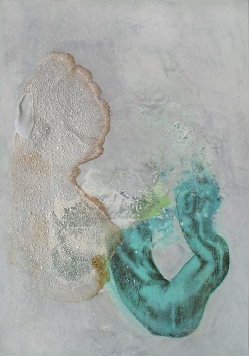 """Izabela Chamczyk, """"Ześrodka"""", braz procesualny, technika własna, farba magnetyczna, akryl, krystalizacja soli, rdza napłótnie 100x70cm, 2014"""